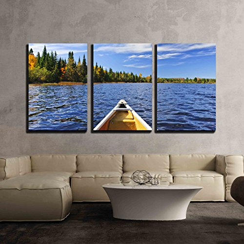 wall26 - 3 Piece Canvas Wall Art - Bow of Canoe on Lake of Two Rivers, Ontario, Canada - Modern Home Decor Stretched and Framed Ready to Hang - 16