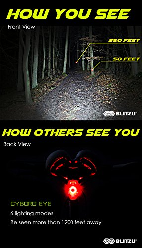 BLITZU Gator 390 USB Rechargeable LED Bike Light Set, Bicycle Headlight Front Light & FREE Rear Back Tail Light. Waterproof, Easy To Install for Kids Men Women Road Cycling Safety Commuter Flashlight