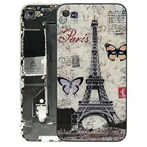 Retro Postcard Style Glass Cover Back Replacement for iPhone 4 (Eiffel Tower Pattern)