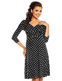 Zeta Ville Womens Maternity Wrap V-neck Polka Dot Dress Summer Spot Dress 017c
