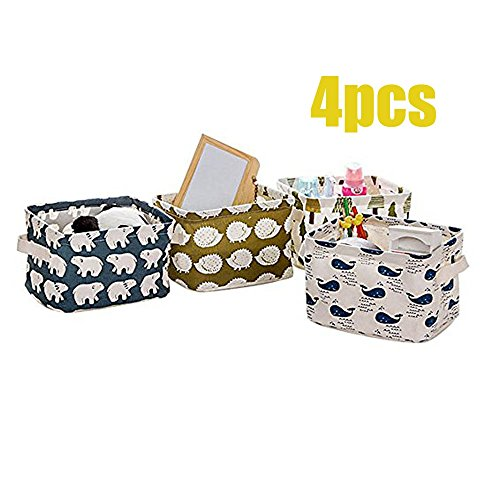 AccMart Stationery Handicraft Foldable Storage Bins Basket Linen Fabric Canvas Storage Baskets Organizers for Shelves Baby Toys Makeup Books (4Pack)