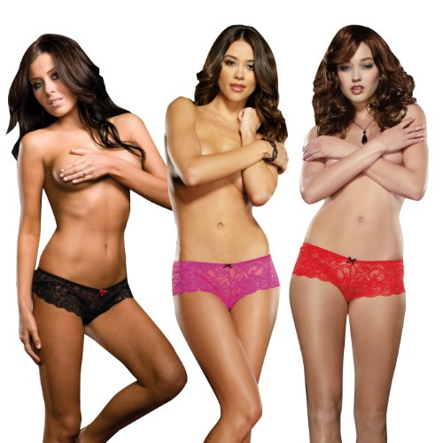 Dreamgirl Women's Cheeky Stretch Lace Crotchless Panty 3-Pack,