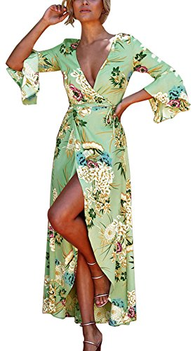 t Femme Fashion Imprime Bandage Plage Robe avec Fendues Sexy Slim Col V Profond Flare Sleeve Maxi Robes de Party Cocktail Soirees Gala Vert Clair