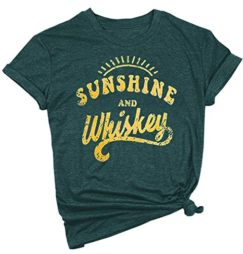 YEXIPO Womens Sunshine and Whiskey Short Sleeve Country T Shirt Country Music Beach Funny Graphic Tees Summer Tops (Large, 1-Dark -