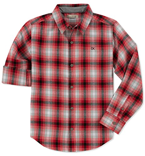 Calvin Klein Boys' Little Plaid Long Sleeve Shirt with Pocket, Check red, 6