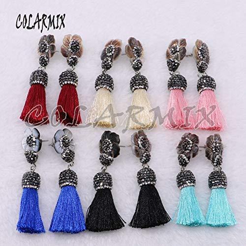 Tassel Earrings | Shell Flower Earrings | Mix Color Tassel Earrings | Fashion Jewelry Earrings | Long Earrings (Pink)