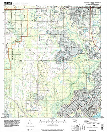 YellowMaps Jacksonville Heights FL topo map, 1:24000 Scale, 7.5 X 7.5 Minute, Historical, 1994, Updated 2002, 26.9 x 21.9 in - Polypropylene