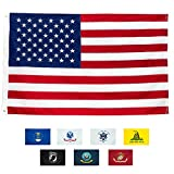 Front Line Flags American Flag 5×8′ | 100% Guarantee | Heavy Duty | Embroidered Stars | Sewn Stripes | 210D Oxford Nylon | Quadruple Stitched Fly End | Brass Grommets for Easy Display | U.S. Flag
