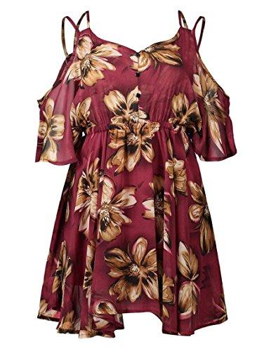 Jaycargogo Femmes Floral Épaule Froid Robe En Mousseline De Soie Cou V Profond Empire Taille Mini Robe 3