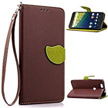 Sunny&Baby Leaf Magnetic Closure Flip Case for Google LG Nexus 6P Leather Wallet Cover Stand Folio Shell with Lanyard Card Slots Anti-skid ( Color : Brown , Size : Google LG Nexus 6 P )