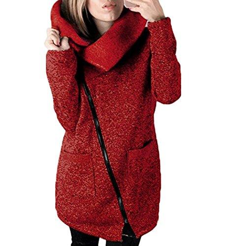 Long Sweatshirt Jacket Ladies Women warm Coat Zipper Tops Keep Casual LHWY Outwear Wine Windbreaker T0Aqz