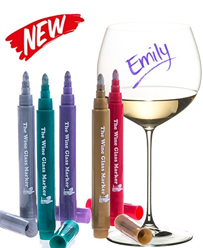 The Original Wine Glass Markers - (Set of 5 Wine Markers) – Lifetime Replacement Warranty -Vibrant Colors - Wine Glass Charms – Fun Wine Accessories – Write on any glassware - Easy Erasable