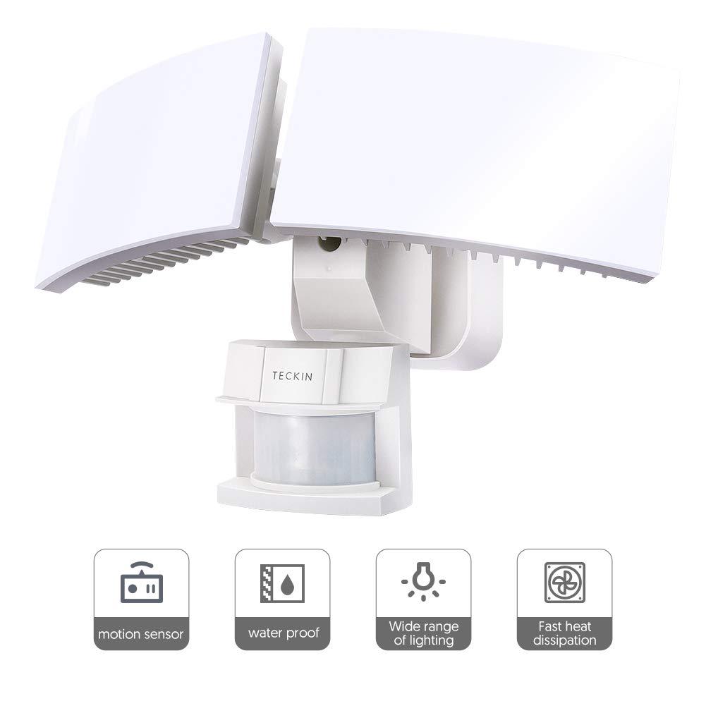 Motion Sensor Light Outdoor, LED Flood Light, Teckin 3000 Lumens, 6000K, IP65 ETL Certified 2 Head Waterproof Night Security Light for Garage, Porch, Yard, Pathway, Patio, Driveway by TECKIN