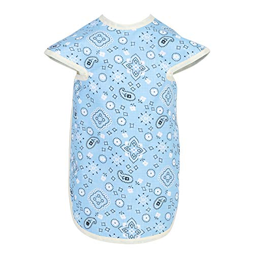 Boys Bib Poly Cotton - Pie Face Full Body Baby Bibs for Girls and Boys Slip-On Body Coverage to Protect Toddler Skin & Clothes | Cotton Polyester | Washable, Reusable 6-36 Months (Light Blue Bandana)