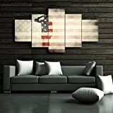 Large America Flag Canvas Wall Art,5 Panel USA Flag,Honored Nation Symbol,Framed Hooks and Stretched, Canvas Print Wall Decor(60''Wx40''H)