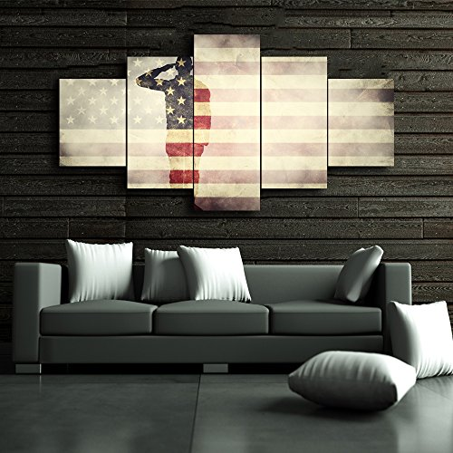 Large America Flag Canvas Wall Art,5 Panel USA Flag,Honored Nation Symbol,Framed Hooks and Stretched, Canvas Print Wall (Symbols Canvas Art)