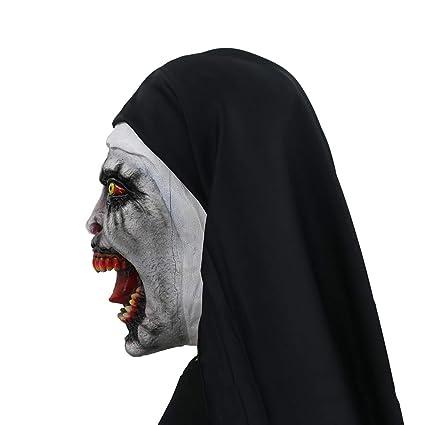WMIAO Halloween Traje De Monja para, Máscara con Velo Máscara De Miedo Zombie (Solo