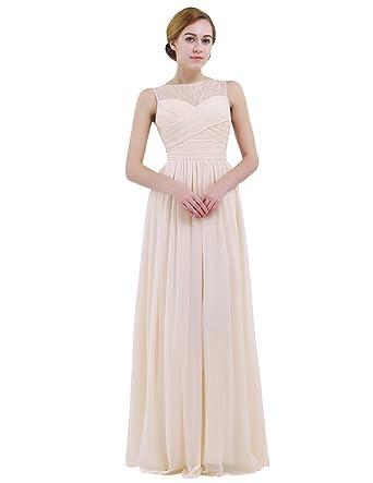 f7c0bb689fe328 iEFiEL Women Lace Illusion Cross Pleats Bridesmaid Dress Long Evening Prom  Gown Apricot 4