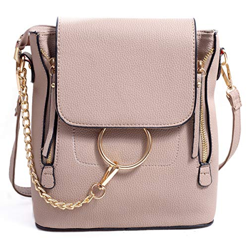 BABORRY Women Crossbody Chain Backpack Purse Small Pu Designer Leather Shoulder Bag for women Ladies Brown Handbags (Khaki)