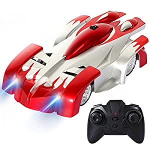 SGILE Remote Control Car Toy, Rechargeable RC Wall Climber Car for Kids Boy Girl Birthday Present with Mini Control Dual Mode 360° Rotating Stunt Car LED Head Gravity Defying, Red