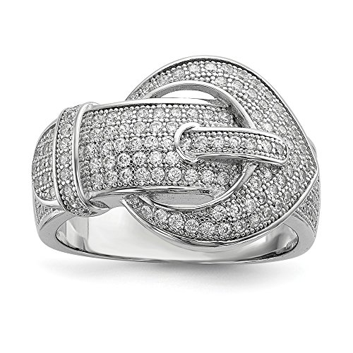 - Mia Diamonds 925 Sterling Silver and Cubic Zirconia Brilliant Buckle Ring