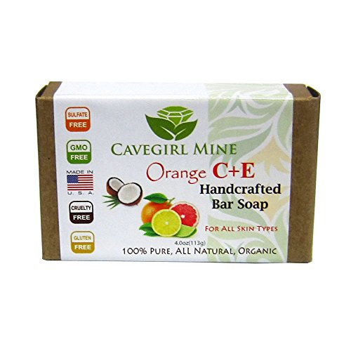 3-Pack CAVEGIRL MINE Orange C + E Certified Organic Coconut Oil Bar Soap. 100% Pure with USDA Organic plant-based ingredients. Fragrance Free. Paraben Free. GMO Free.