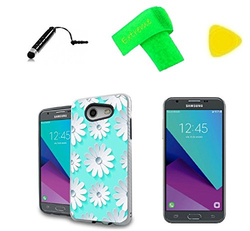 3D Hybrid Slim Phone Cover Case + Screen Protector + Pen + Pry Tool For Samsung Galaxy J3 Emerge / Luna Pro / Express Prime 2 S337TL (3D Daisy Teal) ()
