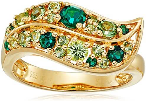 Sterling Silver with Yellow Gold Plating Emerald Crystal and Peridot Crystal and Erinite Crystal Ladies Ring, Size 7