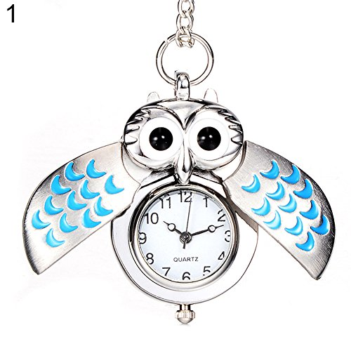 Pocket Watch Ornament - Pocket Watch Opeof Antique Cartoon Owl Wing Pocket Watch Quartz Analog Pendant Necklace Xmas Gift - 1#