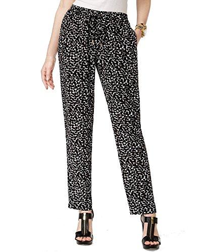 (Michael Kors Women's Petite Printed Drawstring Pants Black/White PM)