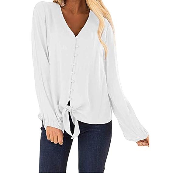 Blusas y Camisa Mujer Blusa con Botones Camisas con Cuello en V ...