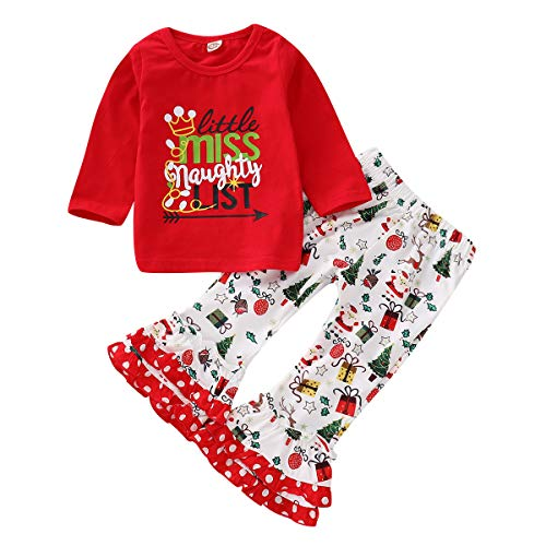 Toddler Baby Girls Christmas Claus Reindeer Clothes Lttle Miss Naughty List Pirnt T-Shirt + Ruffle Santa Pant Outfit]()