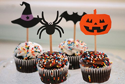 Fun Jack O' Lantern, Spiders, and Witch Hats Cupcake Toppers for Halloween. set of 12