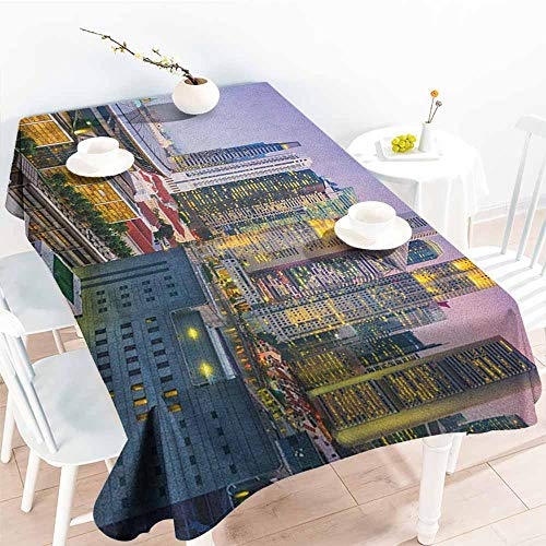 familytaste Urban,Table-Cloth Home Decoration Skyline of Singapore at Evening Skyscrapers Stadium Active City Life Southeast Asia 50