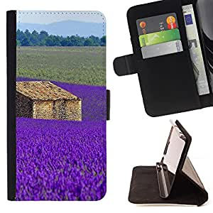 Devil Case- Estilo PU billetera de cuero del soporte del tir¨®n [solapa de cierre] Cubierta FOR Sony Xperia Z2 L50t L50W L50U- purple flowers flower