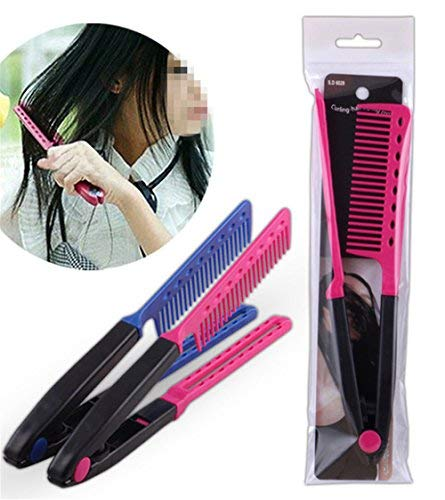 1Pc DIY Salon Hair Brush Combs Hairdressing Styling Hair Straightener V Shaped Straight Comb Color -