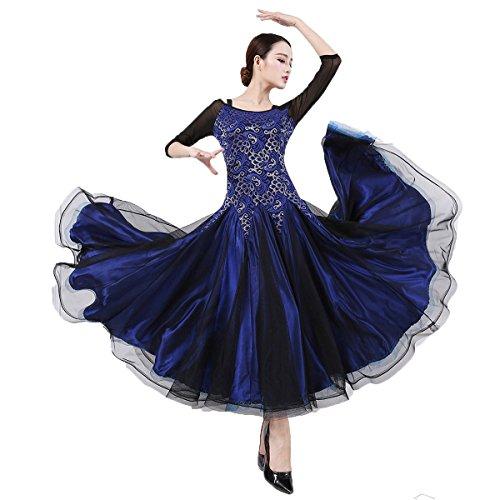 Ballroom Dance Dresses Practise Dance Competition Dresses Modern Waltz Tango Smooth Ballroom Dance Costumes For Women Flamenco Dresses Showcase Dance (Blue,XL)