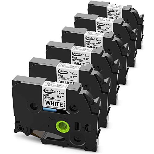 Anycolor 6 Pack Compatible Brother P Touch TZe Laminated Label Maker Tape TZe-231 TZe231 TZe 231 for Brother Labelers PT-D210 PT-H100 PT-D400 PT-D600, Black on White, 0.47 Inch (12mm) x 26.2 Feet (8m)