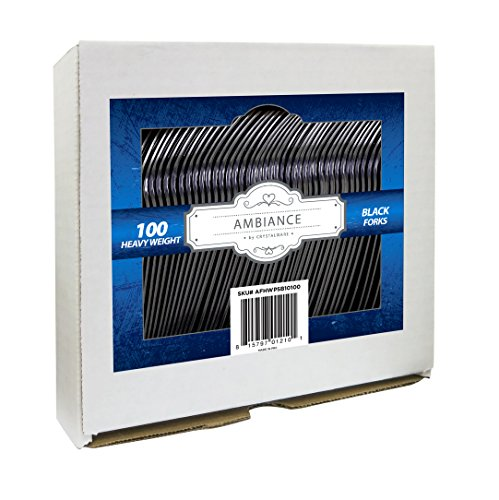 Crystalware, Heavy Weight Black Plastic Forks - Durable, Disposable, Box of - Fork Heavyweight Black Plastic