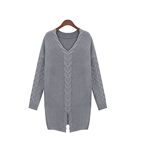 Womens Fall Winter Skirt Sweater Skirt Socks Long Paragraph Cardigan Loose Sweaters Coat Striped Fashion Loose V-neck Sweater (XL, Grey)