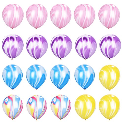 Marble Agate Colorful Latex Balloons for Party [12 inch, Pack of 20] Swirl TIE DYE Effect Party Favors for Birthday Party Carnival Festivals Home Decoration Blue Purple Pink Yellow Pastel Multi-Color by ROYBENS