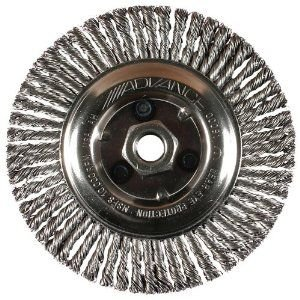 "PFERD 82194 Power Knot Wheel Brush with Stringer Bead Twist, Threaded Hole, Carbon Steel Bristles, 4-1/2"" Diameter, 0.020"" Wire Size, 5/8""-11 Thread, 20000 Maximum RPM, 32 Knots"