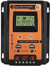 Akozon MPPT Solar Laadregelaar 12V / 24V Zonnepaneel batterijregelaar Dubbele USB PWM Auto Paremeter Verstelbaar LCD-scherm met Bluetooth-module voor loodzuur- en lithiumbatterijen