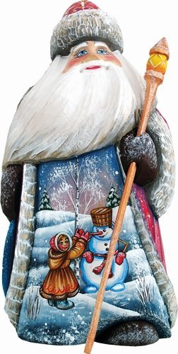 G. Debrekht Girl & Snowman Santa Hand-Painted Wood Carving