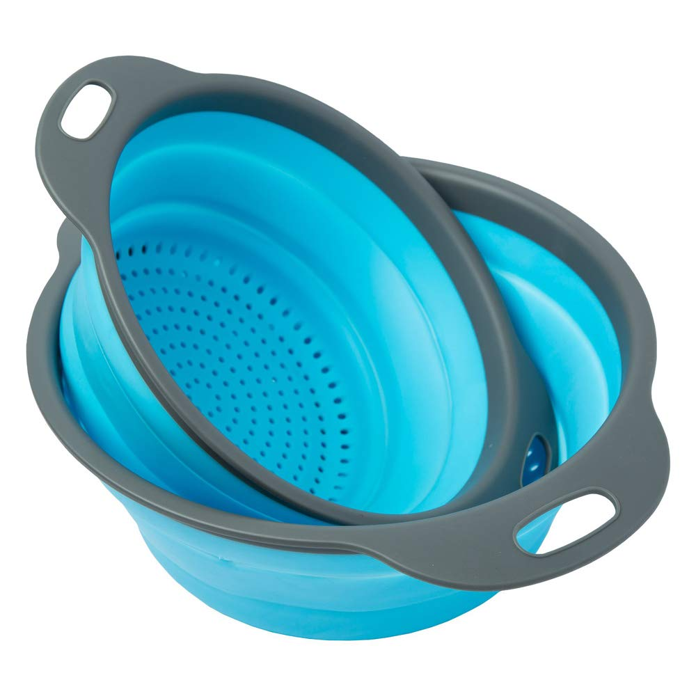 Collapsible Colander - Over the kitchen sink strainer - Silicone Kitchen Strainer Set of 3-6 quart,3 Quart and 2 Quart for Draining Pasta, Vegetable and Fruit (Blue)