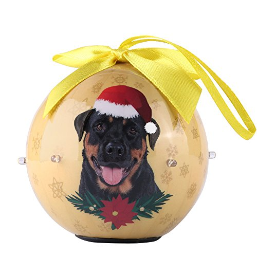 - Premium Christmas Rottweiler Dog Pet Collection 3-inch Ornaments Ball with Twinkling Lights, Shatterproof Beautiful Hanging Pendants for Xmas Tree, Home, Garden, Indoor & Outdoor Decorations