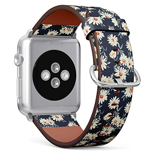 Compatible with Apple iWatch Series 1/2/3/4 (42mm & 44mm), Replacement Leather Bracelet Wristband Strap [ Pretty Daisy Floral Print ]