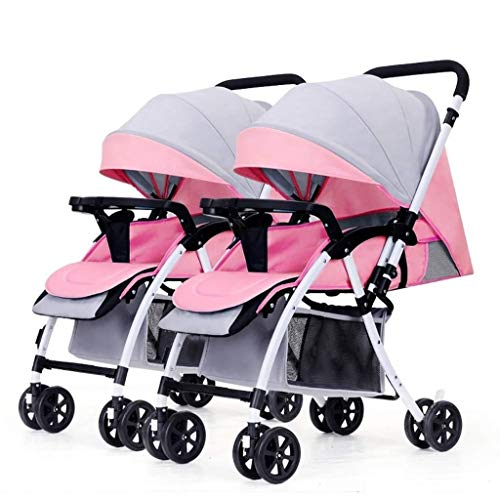 XZHSA Double Stroller Tandem Foldable Stroller 2 Canopy Pram for Babies Newborn – 3 Years Old (Color : Pink+Gray)