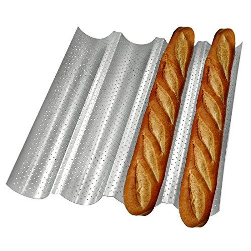 Perforated Baguette Pan, BOJIN Non-stick French Bread Pans Loaf Baking Pan, Silver Wave Baking Molds Baguette mold for Artisan Bread (4 gutters)