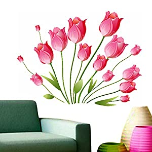 Decals Design StickersKart Wall Stickers Pink Tulips Bouquet (Multi-Colour)